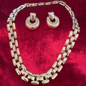 Trifari gold tone necklace with post drop earrings